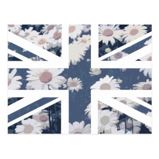 Chrysanthemums Flower Union Jack British(UK) Flag Postcard