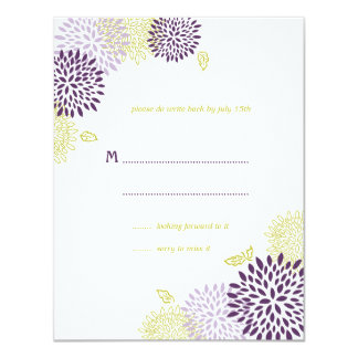 Chrysanthemums Wedding RSVP Card