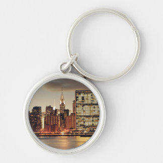 Chrysler Building and NYC Skyline Silver-Colored Round Key Ring