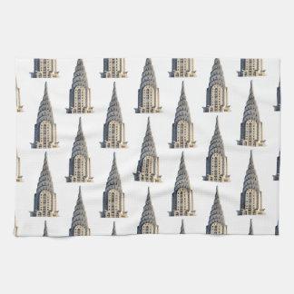 Chrysler Building Dome Pattern Black on White Tea Towel