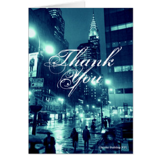 Chrysler Building NYC Blue Thank You Card