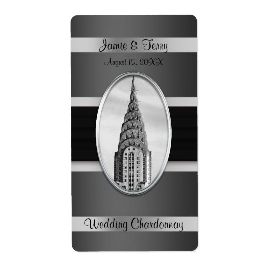 Chrysler Building Party Wine Label Black Silver BW Shipping Label