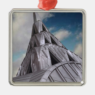 Chrysler Building Square Metal Christmas Ornament