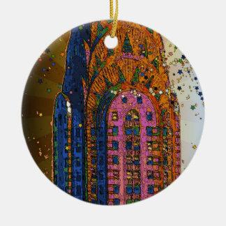 Chrysler Building Top Closeup #1 Ceramic Ornament