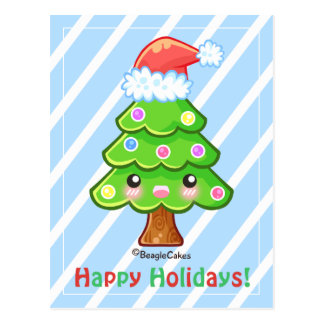 Chsritmas Tree Happy Holidays Postcard