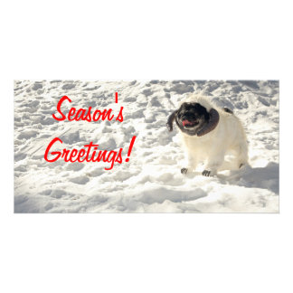 Chubbs The Wampug Season's Greetings Card Personalized Photo Card