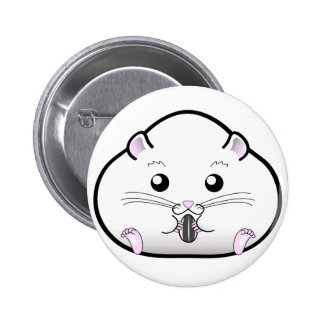 Chubby All White Russian Dwarf Hamster 6 Cm Round Badge