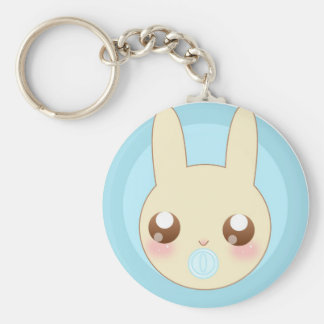 Chubby Baby Bunny Basic Round Button Key Ring