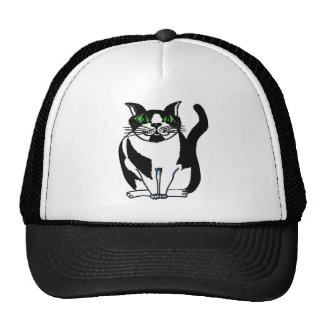 Chubby Black and White Cat Mesh Hat
