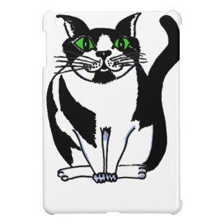 Chubby Black and White Cat iPad Mini Cover