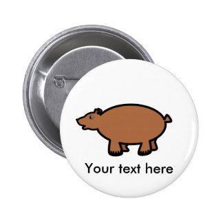 Chubby brown bear 6 cm round badge
