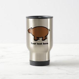 Chubby brown bear stainless steel travel mug