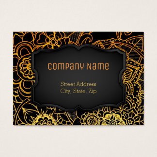 Chubby Business Card Floral Doodle Gold G523