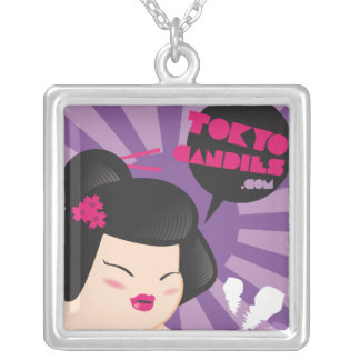 Chubby geisha portrait square pendant necklace