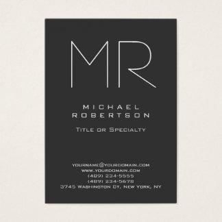 Chubby Modern Monogram Gray White Business Card