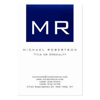 Chubby Monogram Blue White Clean Business Card