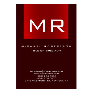 Chubby Monogram Brown Red Clean Business Card