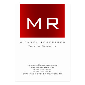 Chubby Monogram Red White Clean Business Card