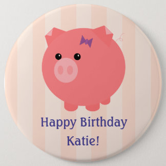 Chubby Pig's Birthday Button with Child's Name
