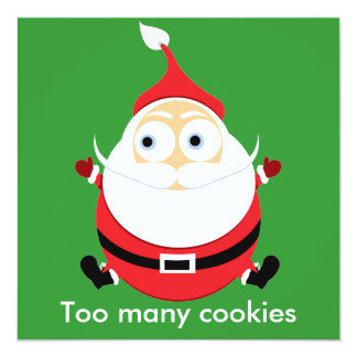 Chubby Santa Christmas Card Xmas Card 13 Cm X 13 Cm Square Invitation Card