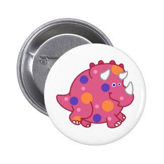 Chubby Triceratops Cartoon Dinosaur 6 Cm Round Badge