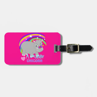 Chubby Unicorn Cute Rainbow Fantasy Fun Luggage Tag