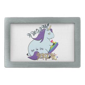 Chubby Unicorn Eating a Rainbow - A Magical Mess Belt Buckles