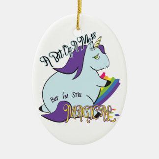 Chubby Unicorn Eating a Rainbow - A Magical Mess Ceramic Oval Decoration
