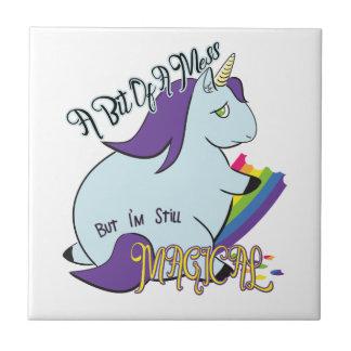 Chubby Unicorn Eating a Rainbow - A Magical Mess Ceramic Tile