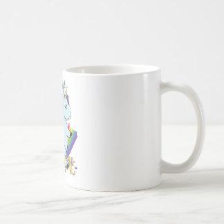 Chubby Unicorn Eating a Rainbow - A Magical Mess Coffee Mug