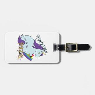 Chubby Unicorn Eating a Rainbow - A Magical Mess Luggage Tag