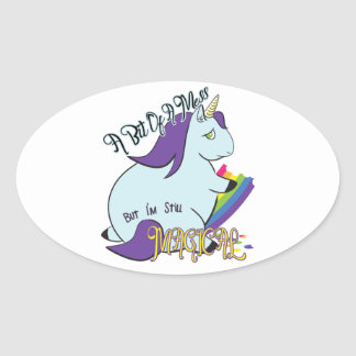 Chubby Unicorn Eating a Rainbow - A Magical Mess Oval Sticker
