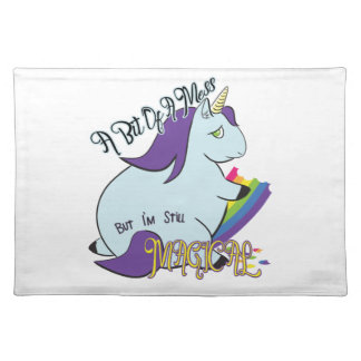 Chubby Unicorn Eating a Rainbow - A Magical Mess Placemat