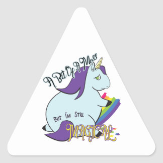 Chubby Unicorn Eating a Rainbow - A Magical Mess Triangle Sticker