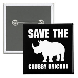Chubby Unicorn Rhino 15 Cm Square Badge