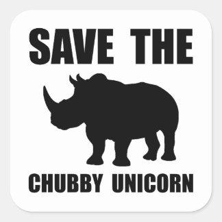 Chubby Unicorn Rhino Square Sticker