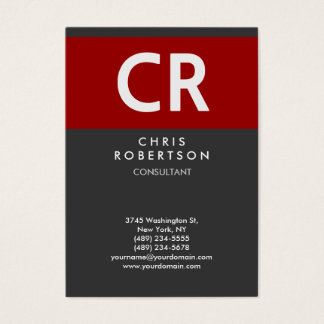 Chubby Vertical Red Gray Monogram Business Card