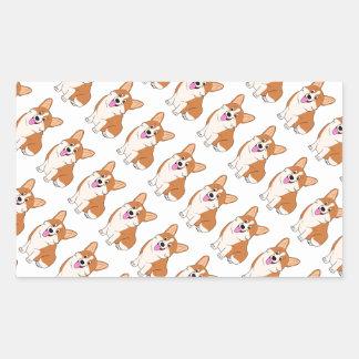 Chubby Welsh Corgi Cartoon Rectangular Sticker