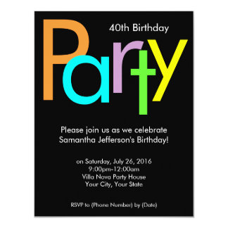 Chunky Block Colors 40th Birthday Party Invitation