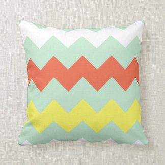 Chunky Chevron - Mint/Coral/Sunshine Throw Pillow