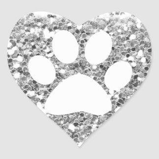 chunky faux silver glitter and white pet paw print heart sticker