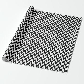 Chunky Herringbone Black and White Wrapping Paper