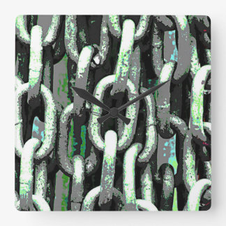 Chunky Industrial Chains Square Wall Clock