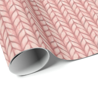 Chunky knit printed gift wrap in rose pink
