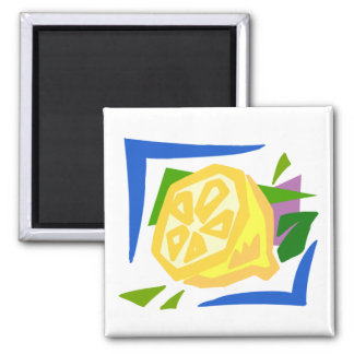 Chunky Lemon Graphic Lemons Square Magnet