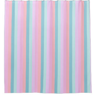 Chunky Pastel Stripes Shower Curtain