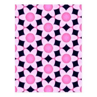 Chunky Pink Daisies on Black Postcard