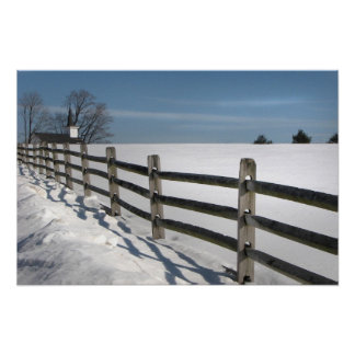 Church and Fence Posts Poster