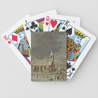 Church and Iceskaters Bicycle Playing Cards