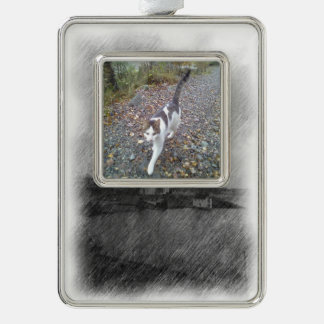 Church and sea silver plated framed ornament